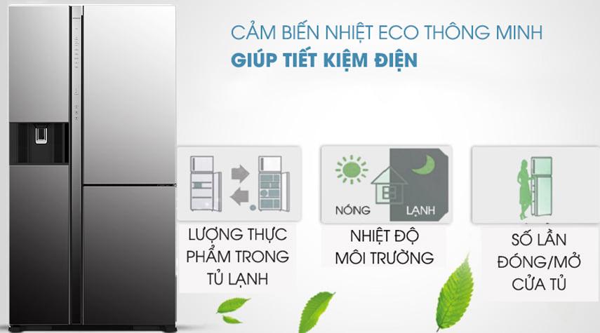 Tủ lạnh Hitachi R-MY800GVGV0 MIR Multidoor 3 cánh 569 lít cảm biến nhiệt eco thông minh giúp tiết kiệm điện