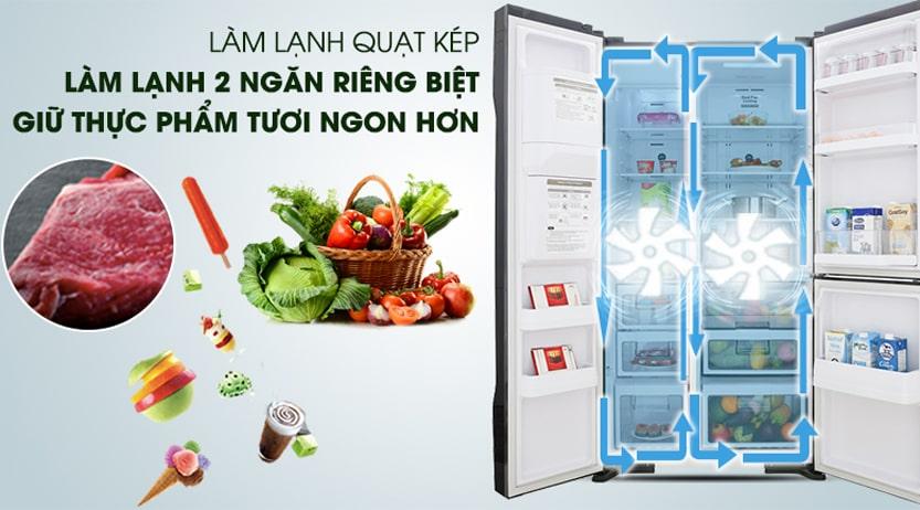 Tủ lạnh Hitachi R-MY800GVGV0 MIR Multidoor 3 cánh 569 lít làm lạnh quạt kép 2 ngăn riêng biệt