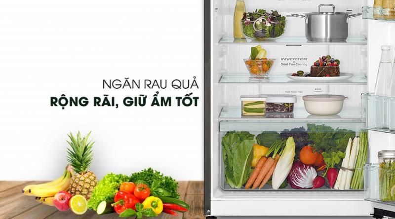 Tủ lạnh Hitachi R-FG510PGV8 GBK ngăn rau quả rộng rãi, giữ ẩm tốt