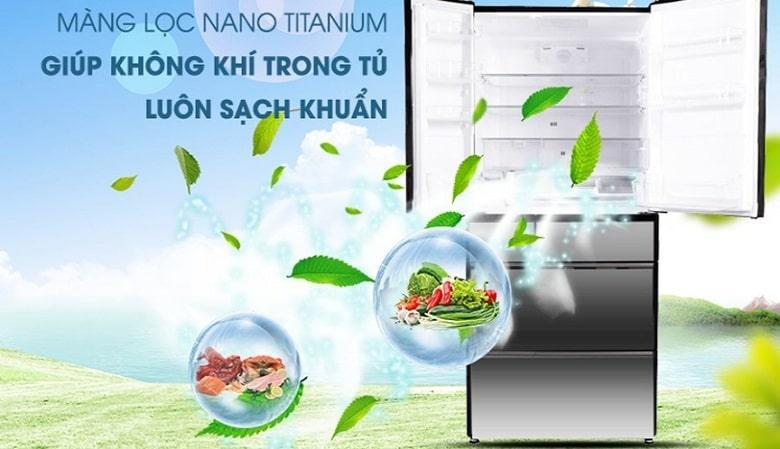 Tủ lạnh Hitachi R-G520GV X màng lộc nano titanium