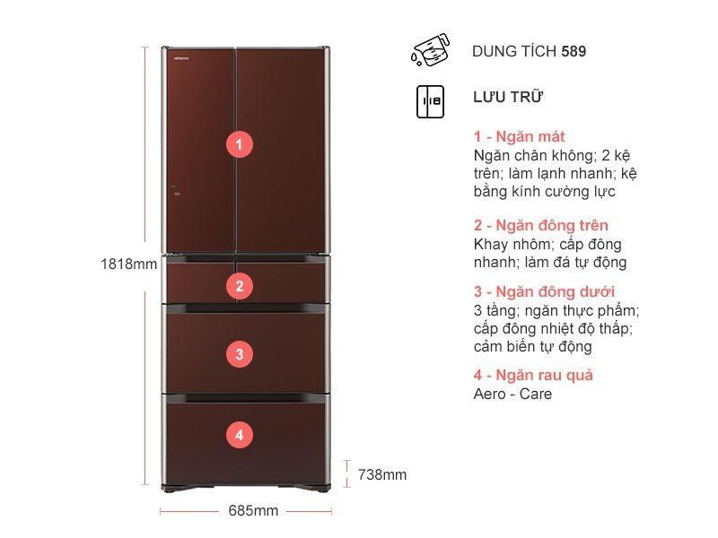 Tủ lạnh Hitachi R-G570GV XT mô tả chi tiết sản phẩm