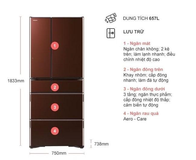 Tủ lạnh Hitachi R-G620GV XT Multidoor 6 cánh mô tả chi tiết sản phẩm