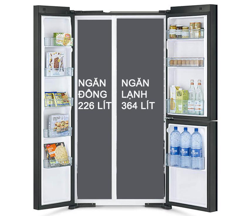 Tủ lạnh Hitachi R-M800PGV0 GBK trang bị 3 ngăn dung tích lớn
