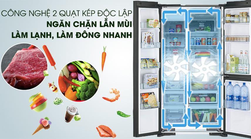 Tủ lạnh Hitachi R-M800PGV0 GBK công nghệ 2 quạt kép độc lập ngăn chặn lẫn mùi