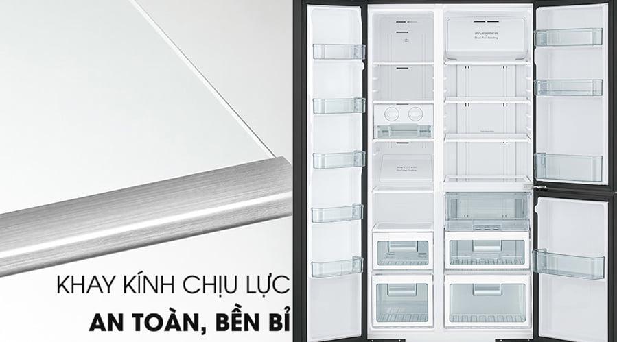 Tủ lạnh Hitachi R-M800PGV0 GBK khay kính chịu lực an toàn