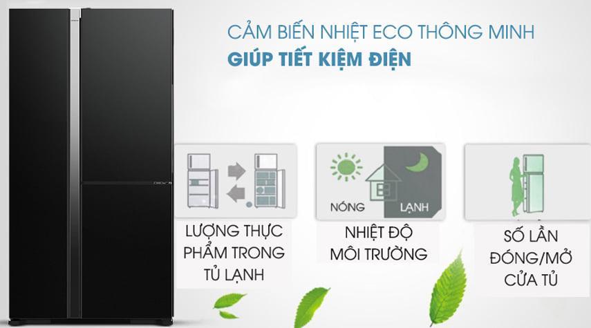 Tủ lạnh Hitachi R-M800PGV0 GBK cảm biến nhiệt eco thông minh giúp tiết kiệm điện