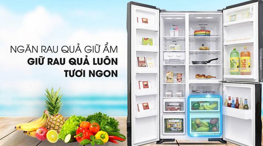 Tủ lạnh Hitachi R-M800PGV0 GBK ngăn rau quả giữ ẩm giữ rau quả luôn tươi ngon