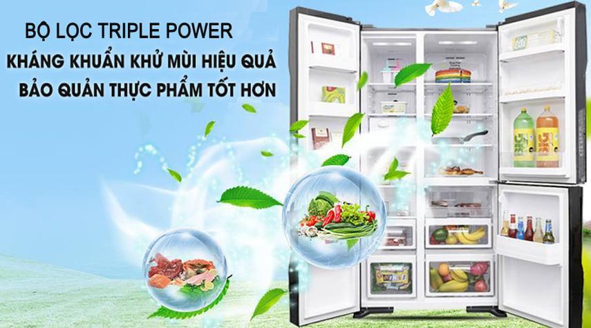 Tủ lạnh Hitachi R-M800PGV0 GBK bộ lọc triple power kháng khuẩn khử mùi