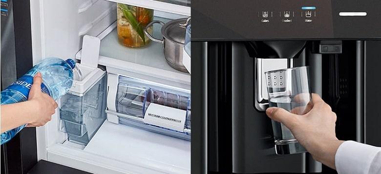 Tủ lạnh Hitachi R-MX800GVGV0 GBK lấy đá và lấy nước bên ngoài