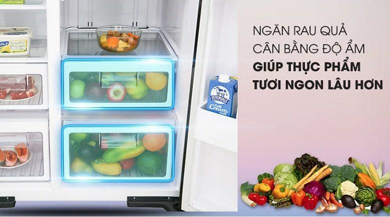 Tủ lạnh Hitachi R-MX800GVGV0 GBK ngăn rủa quả cân bằng độ ẩm