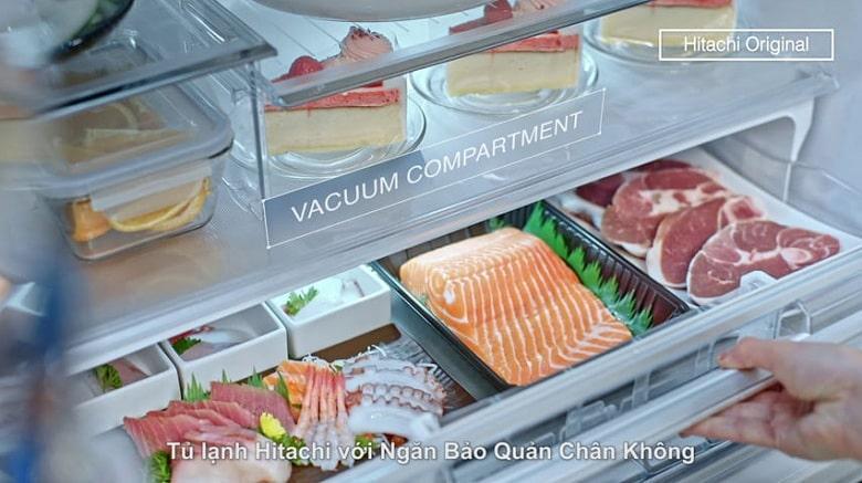 Tủ lạnh Hitachi R-MX800GVGV0 GBK ngăn chân không duy trì độ tươi thực phẩm