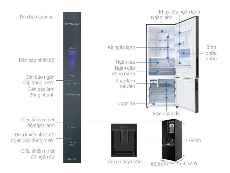 Tủ lạnh Panasonic BX471GPKV mô tả chi tiết sản phẩm