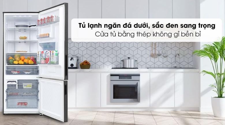 Tủ lạnh Panasonic BX471GPKV ngăn đá dưới với sắc đen sang trọng