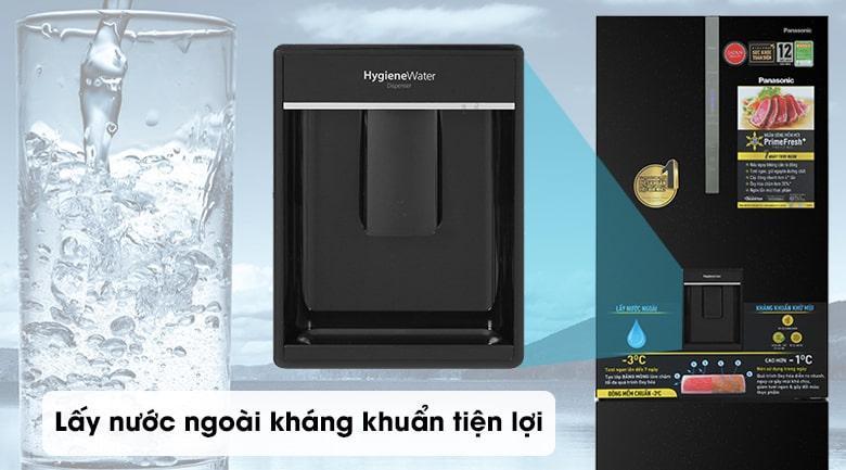 Tủ lạnh Panasonic BX471GPKV lấy nước bên ngoài kháng khuẩn, tiện lợi