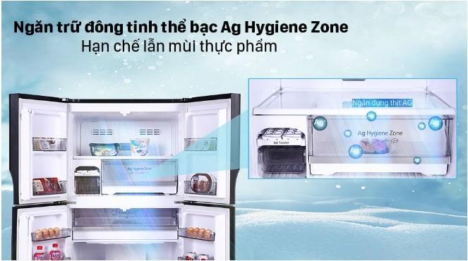 ngăn trữ đông tinh thể bạc Ag hygiene zone hạn chế lẫn mùi thực phẩm
