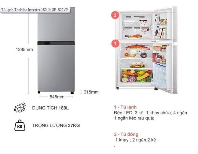 Tủ lạnh Toshiba GR-B22VP (SS) mô tả chi tiết sản phẩm