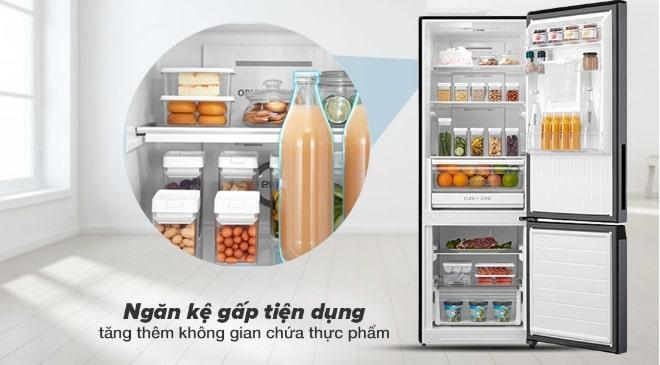 Tủ lạnh Toshiba GR-RB405WE-PMV(06)-MG ngăn kệ gấp tiện dụng