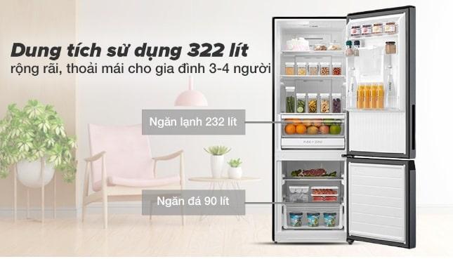 Tủ lạnh Toshiba GR-RB405WE-PMV(06)-MG dung tích sử dụng 322 lít