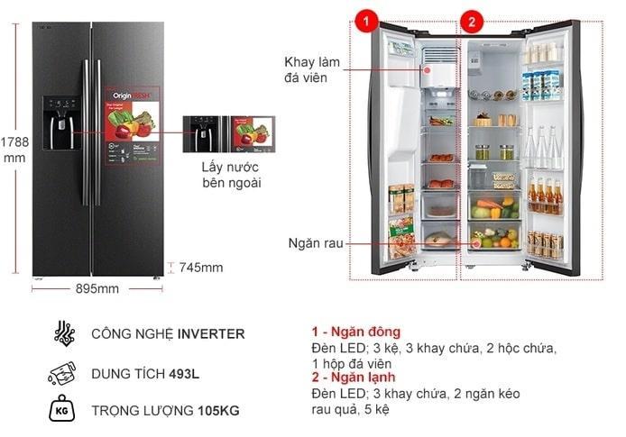 Tủ lạnh Toshiba GR-RS637WE-PMV(06)-MG mô tả chi tiết sản phẩm