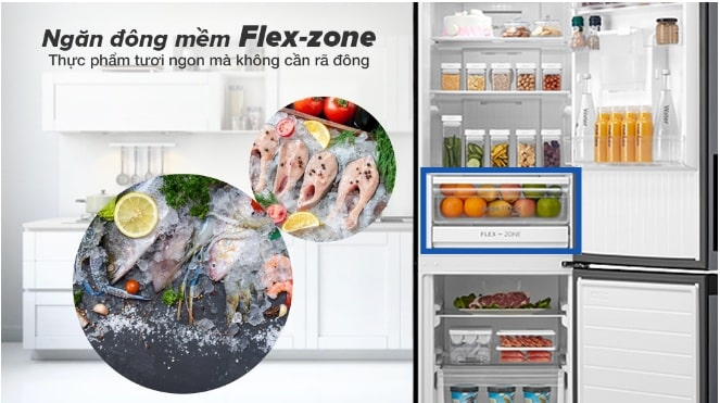 Tủ lạnh Toshiba GR-RB410WE-PMV(37)-SG ngăn đông mềm Flex-zone thực phẩm tươi ngon k cần rã đông