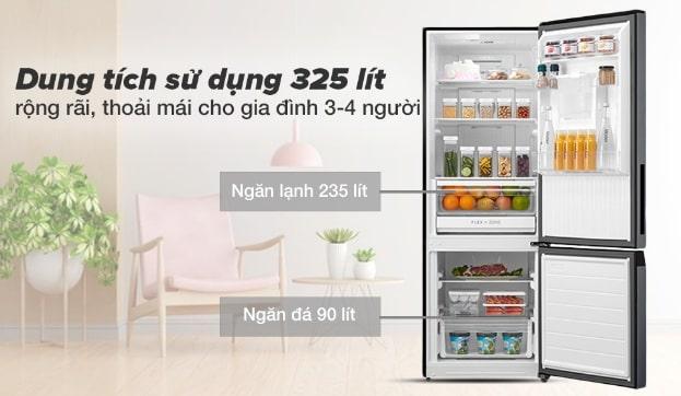 Tủ lạnh Toshiba GR-RB410WE-PMV(37)-SG dung tích sử dụng 325 lít