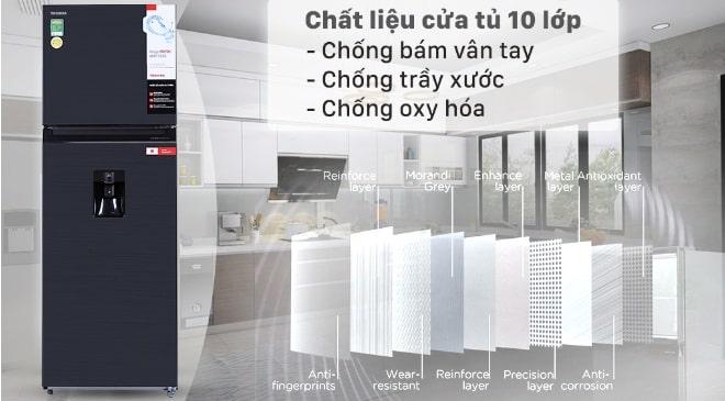 Tủ lạnh Toshiba GR-RT435WE-PMV(06)-MG chất liệu cửa tủ 10 lớp