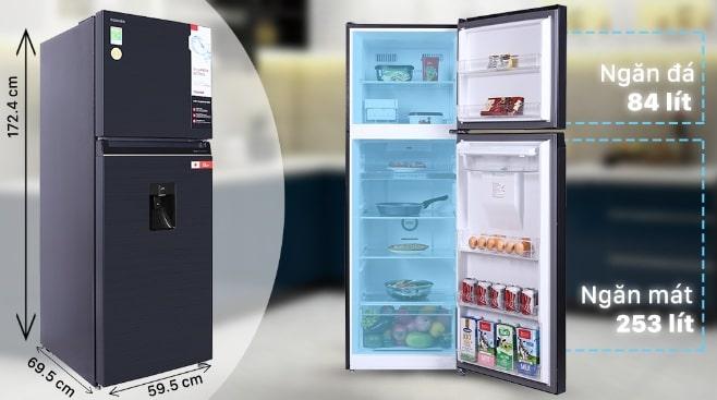 Tủ lạnh Toshiba GR-RT435WE-PMV(06)-MG dung tích lên đến 337 lít