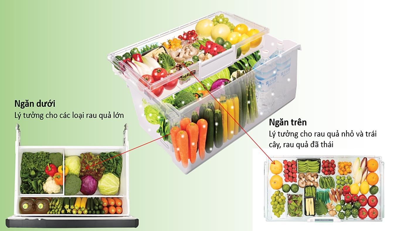 Tủ lạnh Hitachi 536 Lít R-G520GV XK ngăn rau lý tưởng