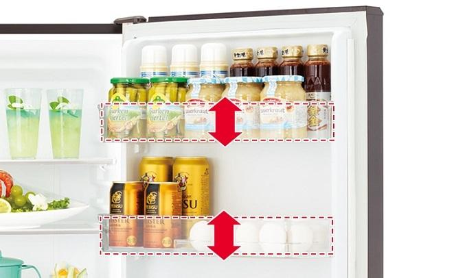 Tủ lạnh Hitachi Inverter 536 lít R-G520GV (X) - Ngăn cửa có thể điều chỉnh độ cao