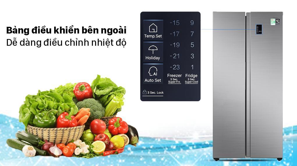 Tủ lạnh Aqua AQR-S480XA(SG) bảng điều khiển bên ngoài tiện lợi