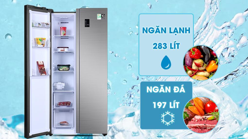 Tủ lạnh Aqua AQR-S480XA(SG) dung tích lớn