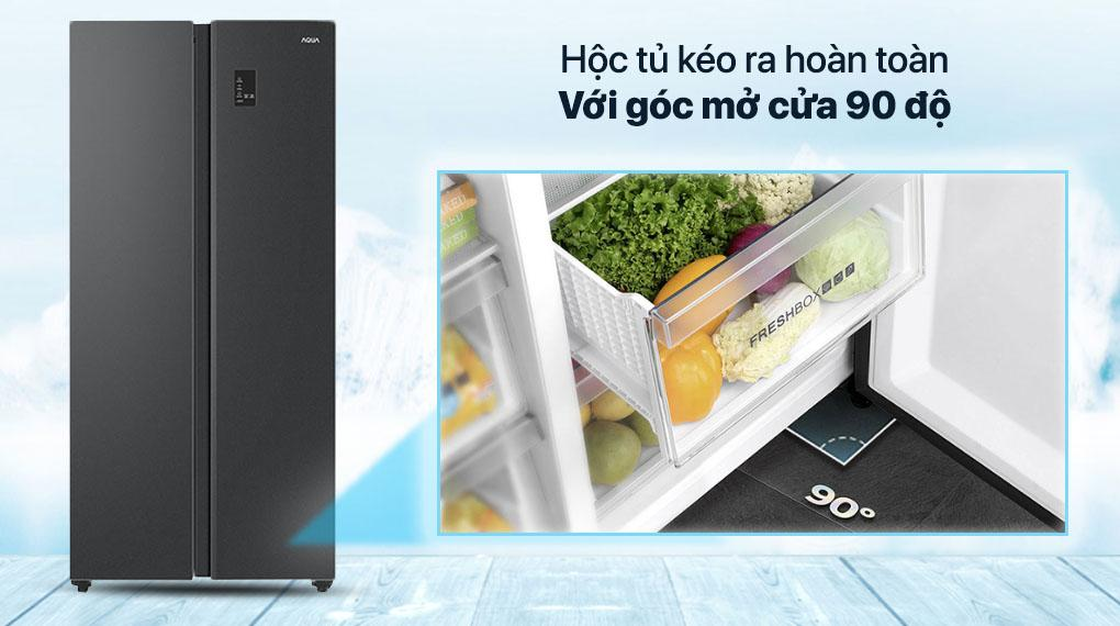 Tủ lạnh Aqua AQR-S480XA (BL) hộc kéo ra hoàn toàn