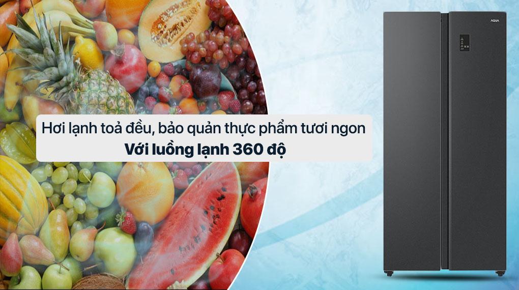 Tủ lạnh Aqua AQR-S480XA (BL) hơi lạnh tỏa đều và bảo quản thực phẩm tươi ngon