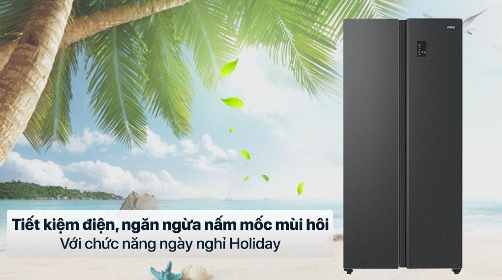 Tủ lạnh Aqua AQR-S480XA (BL) tiết kiệm điện năng, ngăn ngừa nấm mốc mùi hôi với tính năng holiday