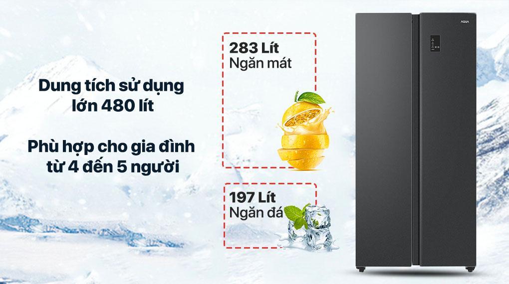 Tủ lạnh Aqua AQR-S480XA (BL) dung tích lớn lên đến 480 lít