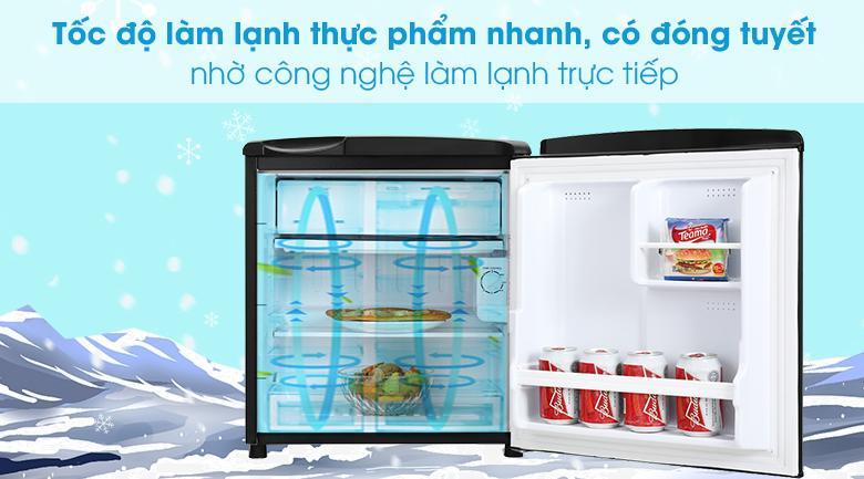 Tủ lạnh Aqua 50 lít AQR-D59FA(BS)-Tốc độ làm lạnh thực phẩm nhanh, tiết kiệm điện nhờ công nghệ làm lạnh trực tiếp