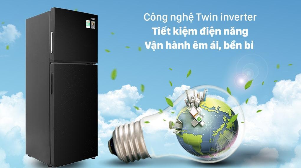 Tủ lạnh Aqua Inverter 211 lít AQR-T238FA(FB) - Công nghệ Twin Inverter tiết kiệm điện