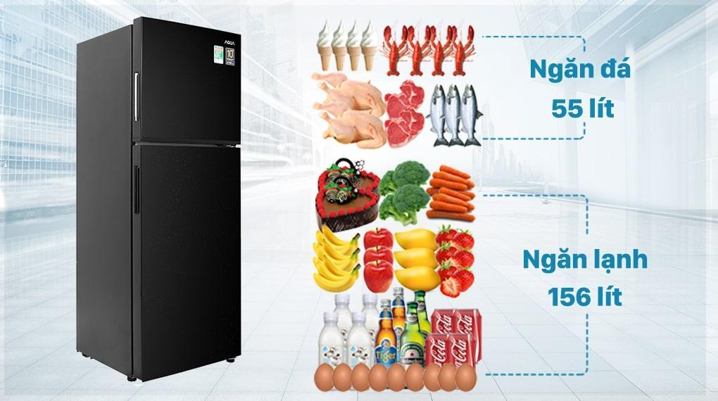 Tủ lạnh Aqua Inverter 211 lít AQR-T238FA(FB) - Dung tích phù hợp gia đình 2 - 3 người