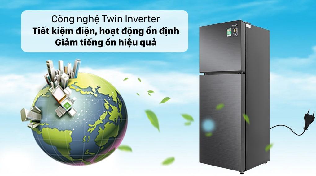Tủ lạnh Aqua Inverter 212 lít AQR-T239FA(HB) - Công nghệ Twin Inverter tiết kiện điện