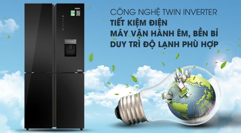 Tủ lạnh Twin Inverter giúp tiết kiệm điện - Tủ lạnh Aqua Inverter 456 lít AQR-IGW525EM GB