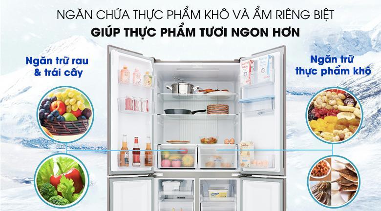 Lưu trữ thực phẩm với 2 ngăn khô và ẩm riêng biệt - Tủ lạnh Aqua Inverter 456 lít AQR-IGW525EM GB