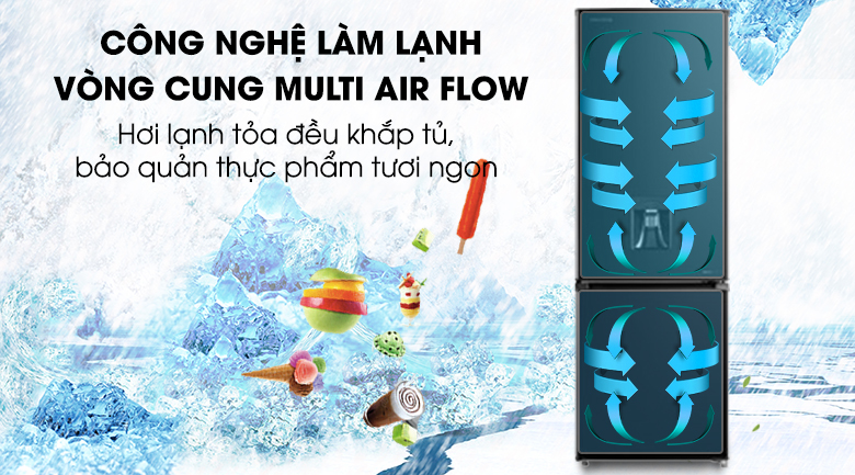 Tủ lạnh Toshiba GR-RB345WE-PMV(30)-BS - làm lạnh vòng cung Multi Air Flow