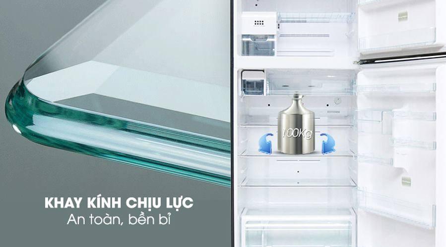 Tủ lạnh Toshiba GR-RT535WE-PMV(06)-MG khay kính chịu lực an toàn, bền bỉ