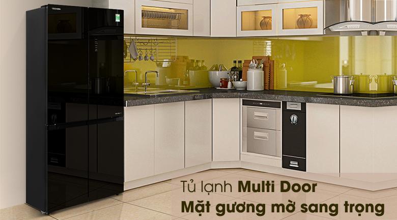 Tủ lạnh Toshiba Inverter 511 lít GR-RF610WE-PGV(22)-XK-Thiết kế hiện đại với kiểu tủ multi door cùng mặt gương sang trọng, quý phái