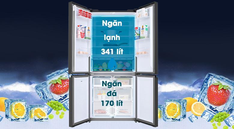 Tủ lạnh Toshiba Inverter 511 lít GR-RF610WE-PGV(22)-XK-Dung tích 511 lít, phù hợp với gia đình từ 4 - 5 người