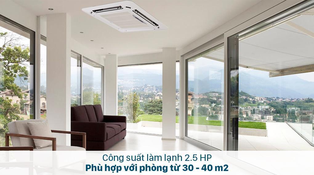 Điều hoà âm trần Midea MCD-24CRDN8 được thiết kế công suất 24000BTU phù hợp với phòng từ 30 - 40 m2