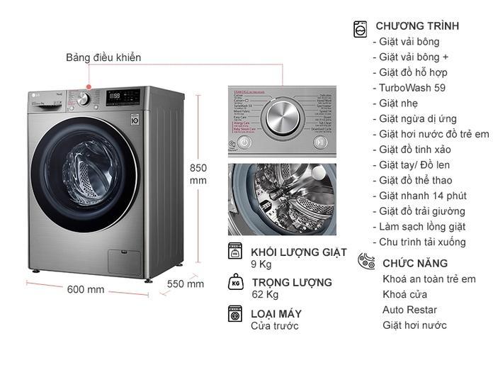Máy giặt LGFV1409S2VInverter 9 kg