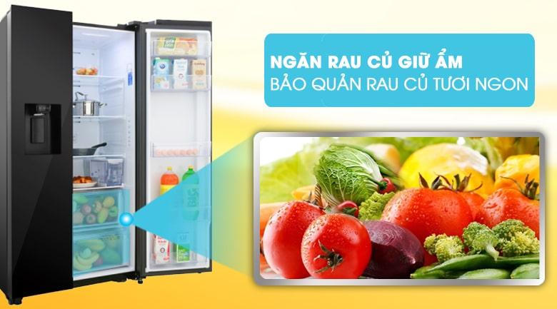 Tủ lạnh Samsung RS64R53012C ngăn rau củ giữ ẩm bảo quản rau củ tươi ngon