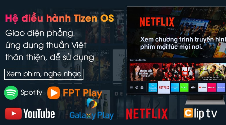 Tivi Samsung 65QN900A hệ điều hành TizenOS cho giao diện phẳng