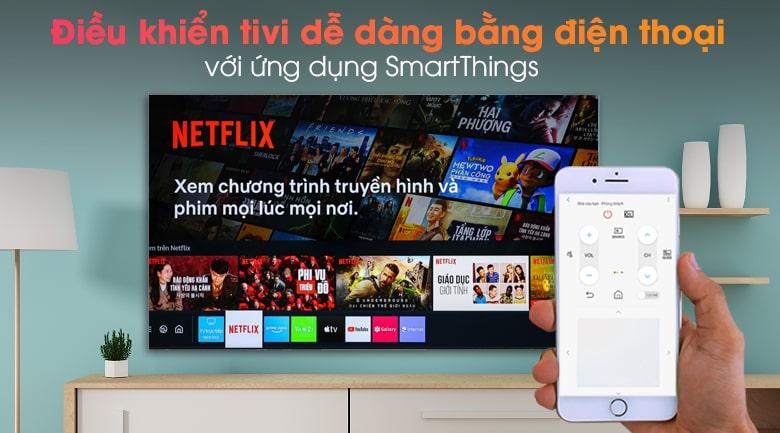 Tivi Samsung 65QN900A điều khiển tivi dễ dàng bằng điện thoại với ứng dụng smartThings